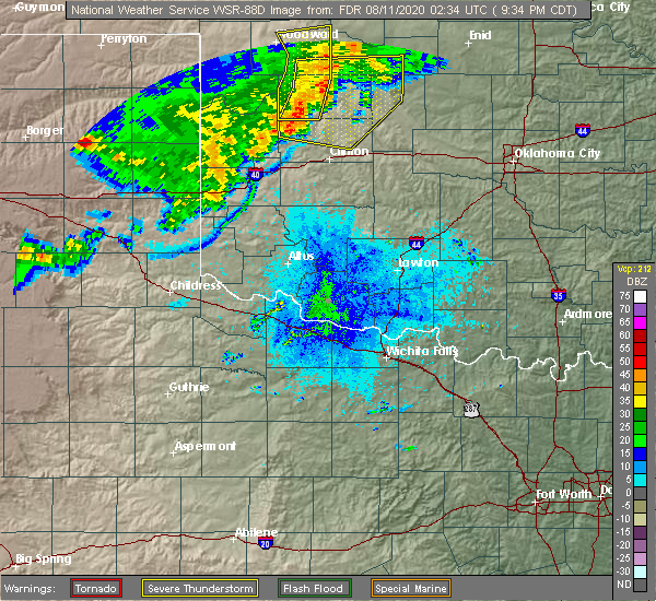 Radar Image for Severe Thunderstorms near Sayre, OK at 8/10/2020 9:41 PM CDT