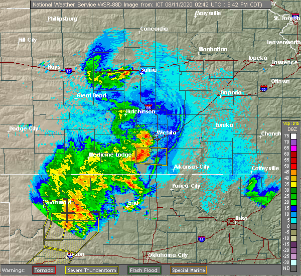 Radar Image for Severe Thunderstorms near Conway Springs, KS at 8/10/2020 9:56 PM CDT