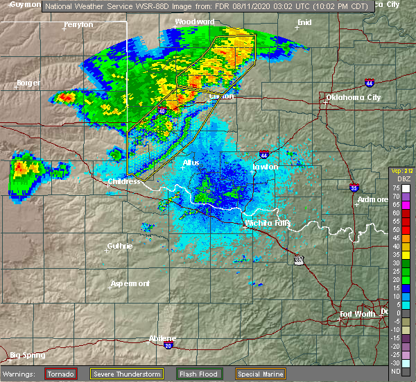 Radar Image for Severe Thunderstorms near Gotebo, OK at 8/10/2020 10:07 PM CDT