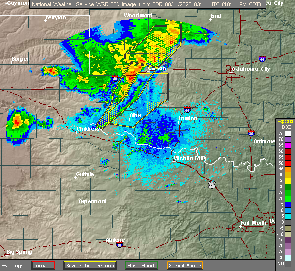 Radar Image for Severe Thunderstorms near Dill City, OK at 8/10/2020 10:14 PM CDT