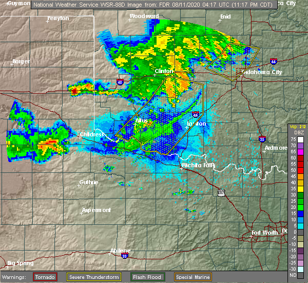 Radar Image for Severe Thunderstorms near Blanchard, OK at 8/10/2020 11:27 PM CDT