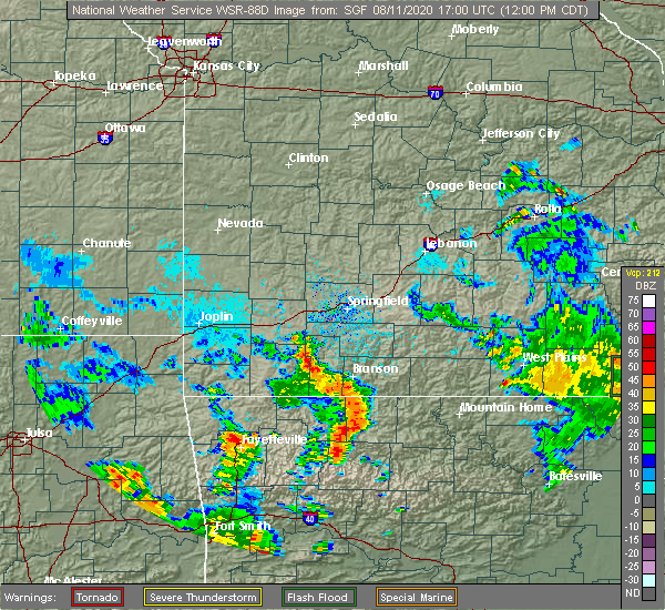 Radar Image for Severe Thunderstorms near Lead Hill, AR at 8/11/2020 12:06 PM CDT