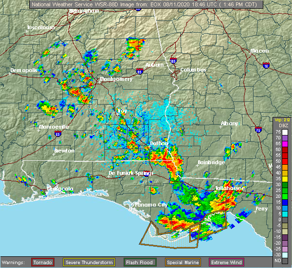 Radar Image for Severe Thunderstorms near Cottonwood, AL at 8/11/2020 1:54 PM CDT