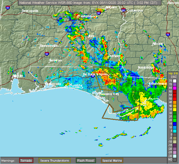 Radar Image for Severe Thunderstorms near Lynn Haven, FL at 8/11/2020 3:05 PM CDT