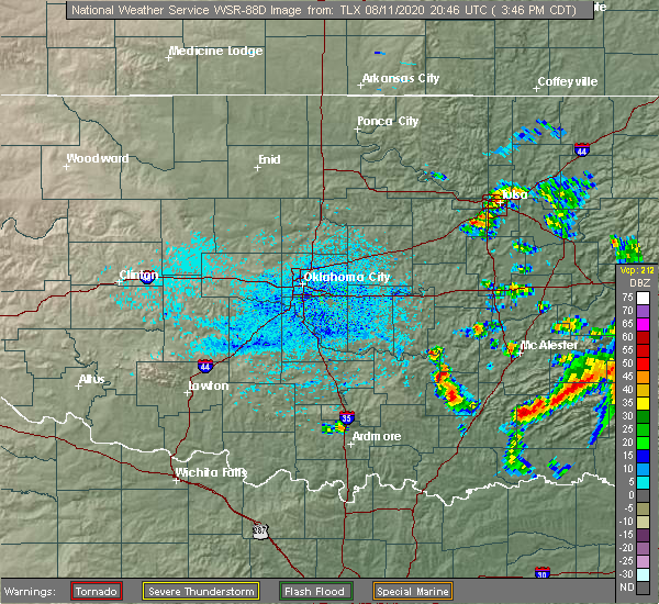 Radar Image for Severe Thunderstorms near Stuart, OK at 8/11/2020 3:50 PM CDT