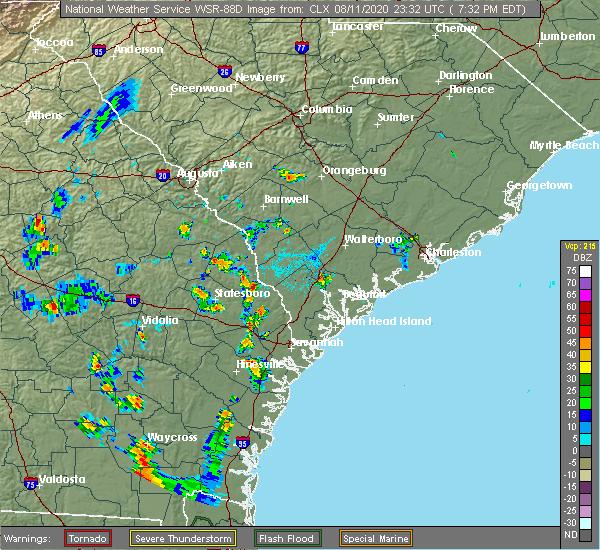 Radar Image for Severe Thunderstorms near Fort Stewart, GA at 8/11/2020 7:36 PM EDT