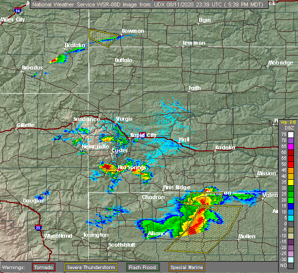 Radar Image for Severe Thunderstorms near Custer, SD at 8/11/2020 5:45 PM MDT