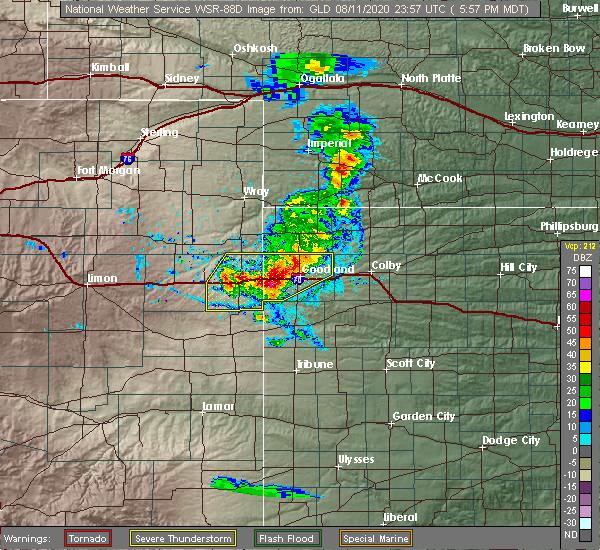 Radar Image for Severe Thunderstorms near Goodland, KS at 8/11/2020 7:01 PM CDT