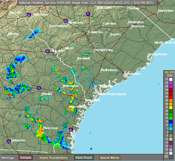 Radar Image for Severe Thunderstorms near Fort Stewart, GA at 8/11/2020 8:07 PM EDT