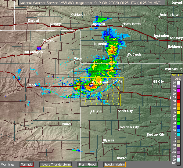 Radar Image for Severe Thunderstorms near Goodland, KS at 8/11/2020 7:27 PM CDT