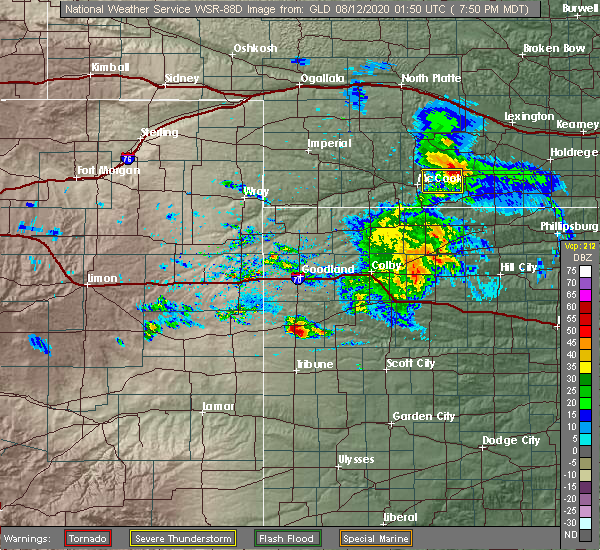 Radar Image for Severe Thunderstorms near Wallace, KS at 8/11/2020 7:52 PM MDT
