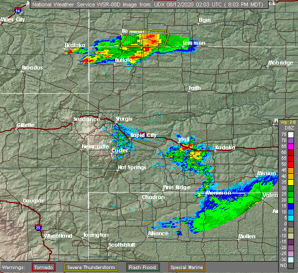 Radar Image for Severe Thunderstorms near Camp Crook, SD at 8/11/2020 8:12 PM MDT