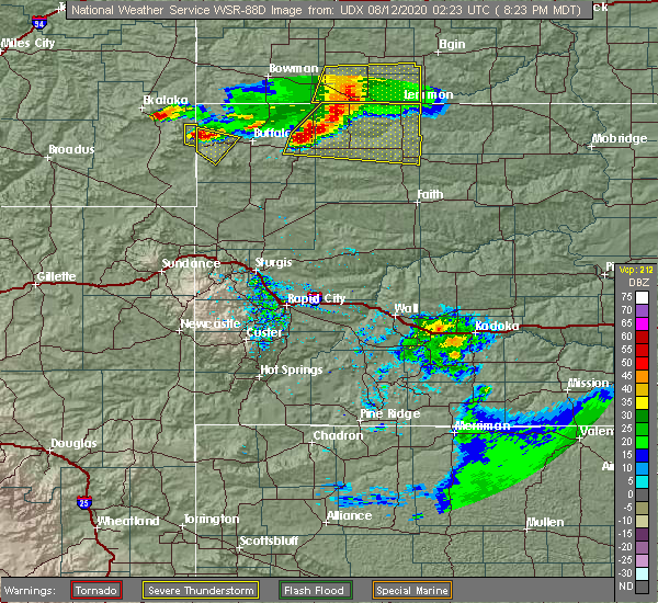 Radar Image for Severe Thunderstorms near Camp Crook, SD at 8/11/2020 8:27 PM MDT