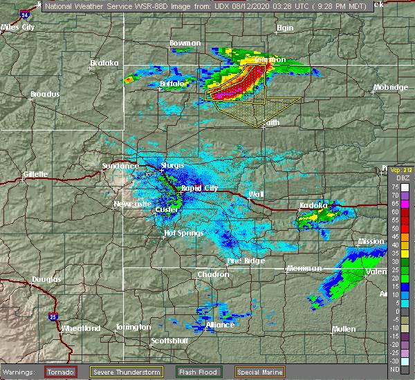 Radar Image for Severe Thunderstorms near Bison, SD at 8/11/2020 9:30 PM MDT