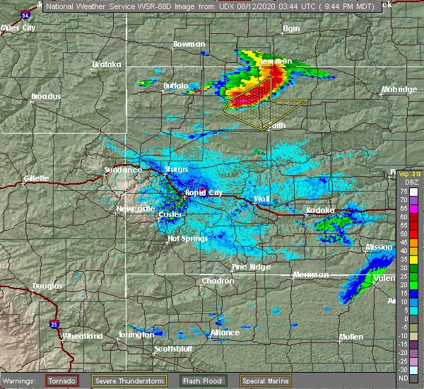 Radar Image for Severe Thunderstorms near Bison, SD at 8/11/2020 9:46 PM MDT