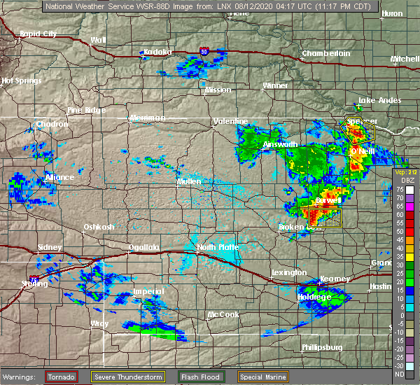 Radar Image for Severe Thunderstorms near Ord, NE at 8/11/2020 11:19 PM CDT