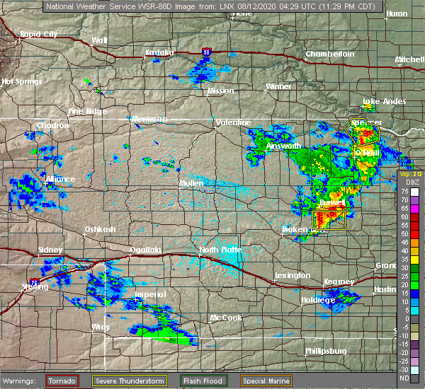 Radar Image for Severe Thunderstorms near Ord, NE at 8/11/2020 11:33 PM CDT
