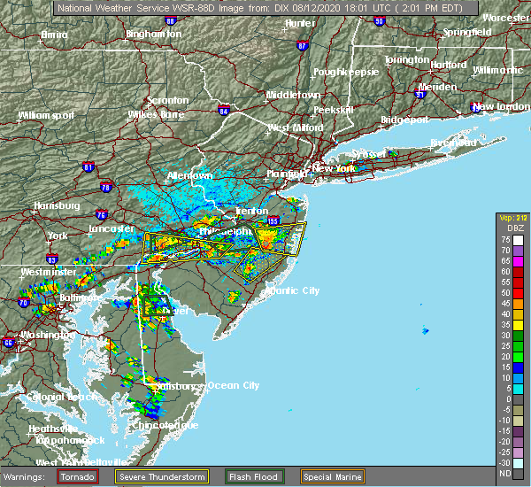 Radar Image for Severe Thunderstorms near Newtown, PA at 8/12/2020 2:07 PM EDT