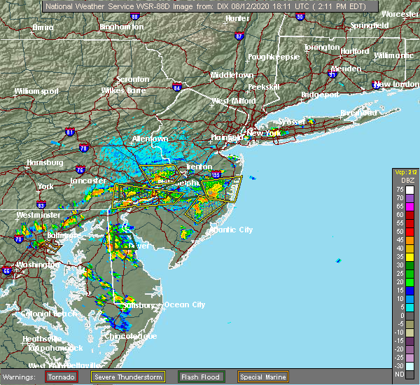 Radar Image for Severe Thunderstorms near Newtown, PA at 8/12/2020 2:18 PM EDT