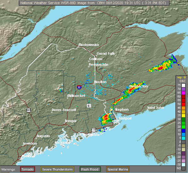 Radar Image for Severe Thunderstorms near Woodland, ME at 8/12/2020 3:39 PM EDT