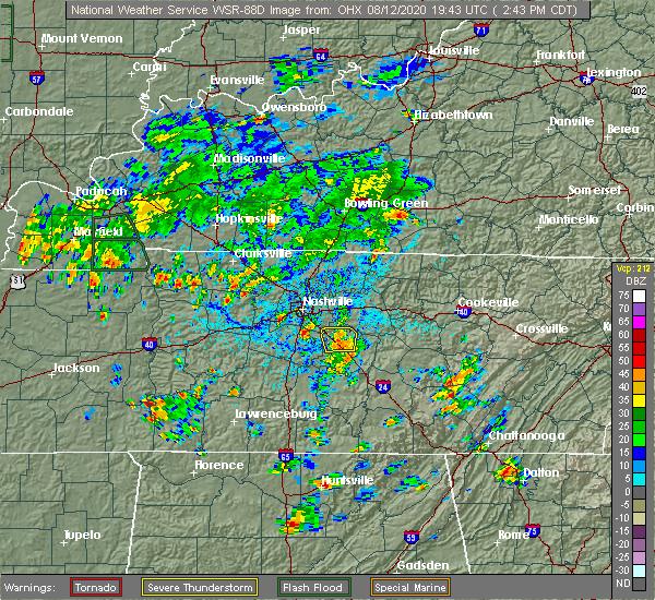 Radar Image for Severe Thunderstorms near Nashville, TN at 8/12/2020 2:59 PM CDT