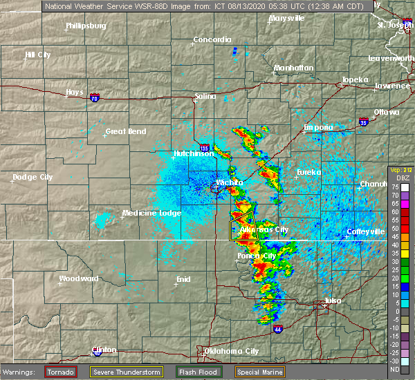 Radar Image for Severe Thunderstorms near Kaw City, OK at 8/13/2020 12:44 AM CDT