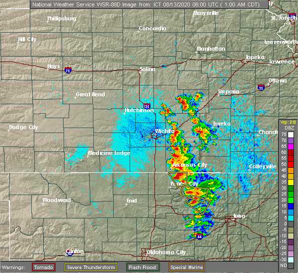 Radar Image for Severe Thunderstorms near Kaw City, OK at 8/13/2020 1:05 AM CDT