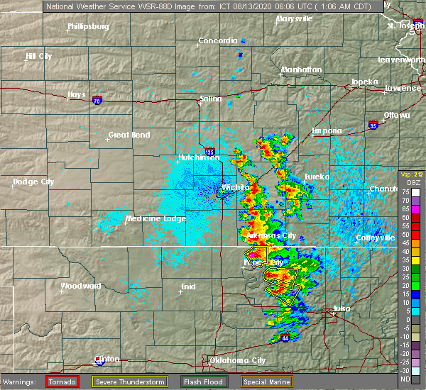 Radar Image for Severe Thunderstorms near Kaw City, OK at 8/13/2020 1:11 AM CDT