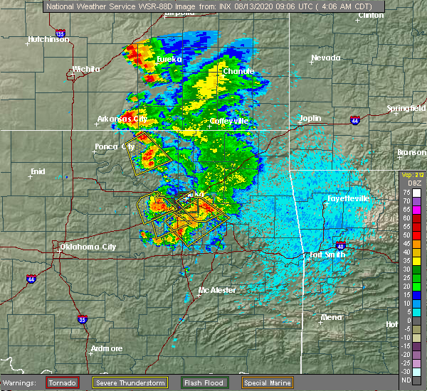 Radar Image for Severe Thunderstorms near Bristow, OK at 8/13/2020 4:14 AM CDT