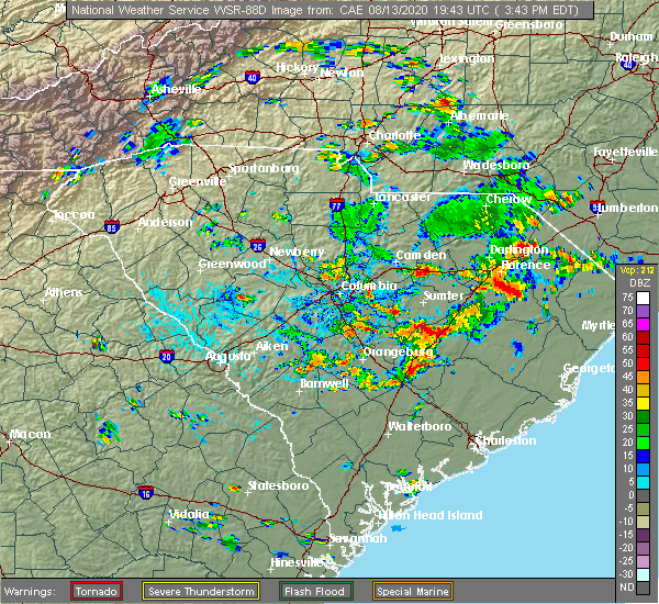Radar Image for Severe Thunderstorms near Stateburg, SC at 8/13/2020 3:53 PM EDT