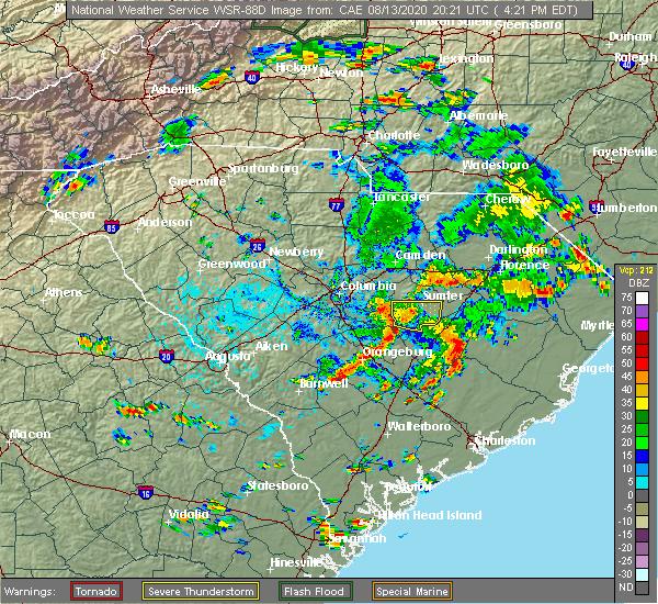 Radar Image for Severe Thunderstorms near Stateburg, SC at 8/13/2020 4:24 PM EDT