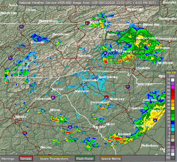 Radar Image for Severe Thunderstorms near Mooresboro, NC at 8/13/2020 6:14 PM EDT