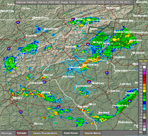 Radar Image for Severe Thunderstorms near Roebuck, SC at 8/13/2020 7:19 PM EDT