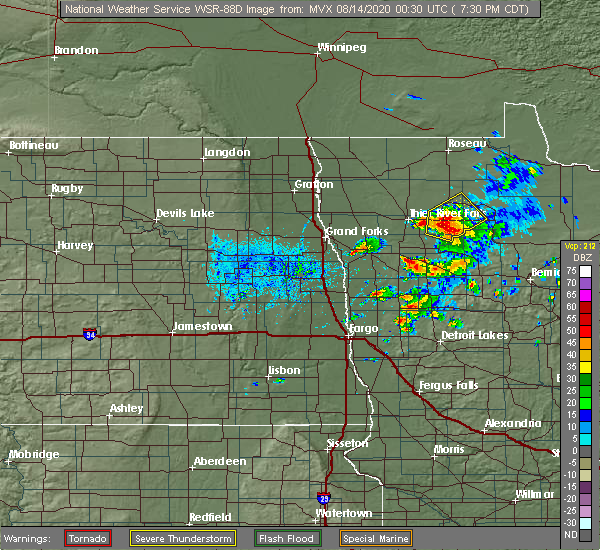 Radar Image for Severe Thunderstorms near Goodridge, MN at 8/13/2020 7:32 PM CDT