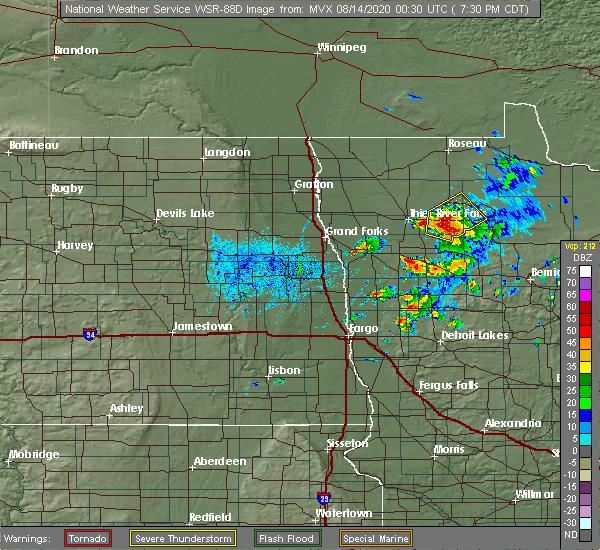 Radar Image for Severe Thunderstorms near Goodridge, MN at 8/13/2020 7:36 PM CDT