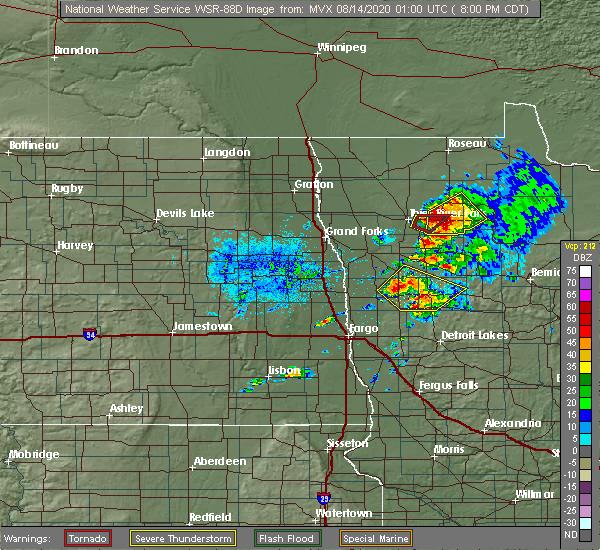 Radar Image for Severe Thunderstorms near Goodridge, MN at 8/13/2020 8:08 PM CDT