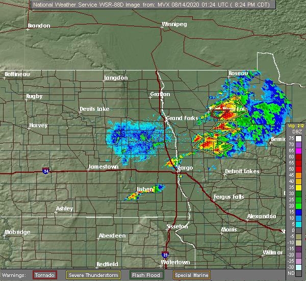 Radar Image for Severe Thunderstorms near Goodridge, MN at 8/13/2020 8:29 PM CDT
