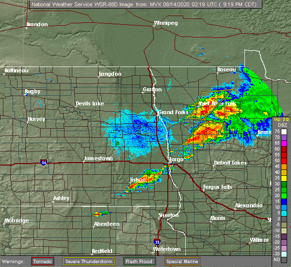 Radar Image for Severe Thunderstorms near Thief River Falls, MN at 8/13/2020 9:24 PM CDT
