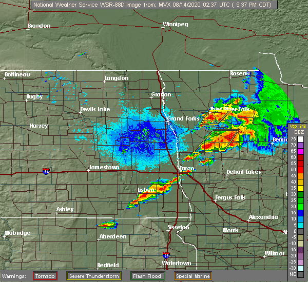 Radar Image for Severe Thunderstorms near Thief River Falls, MN at 8/13/2020 9:39 PM CDT