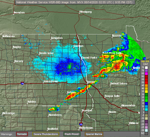 Radar Image for Severe Thunderstorms near Thief River Falls, MN at 8/13/2020 9:59 PM CDT
