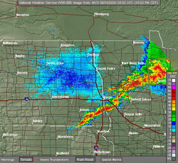 Radar Image for Severe Thunderstorms near Colfax, ND at 8/13/2020 10:57 PM CDT