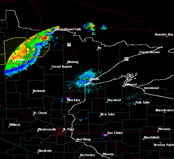Radar Image for Severe Thunderstorms near Northome, MN at 8/13/2020 11:13 PM CDT