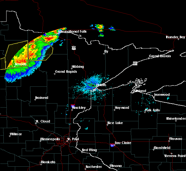 Radar Image for Severe Thunderstorms near Northome, MN at 8/13/2020 11:29 PM CDT