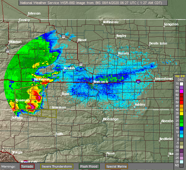 Radar Image for Severe Thunderstorms near New England, ND at 8/14/2020 12:32 AM MDT