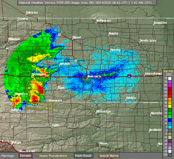 Radar Image for Severe Thunderstorms near Lemmon, SD at 8/14/2020 12:46 AM MDT
