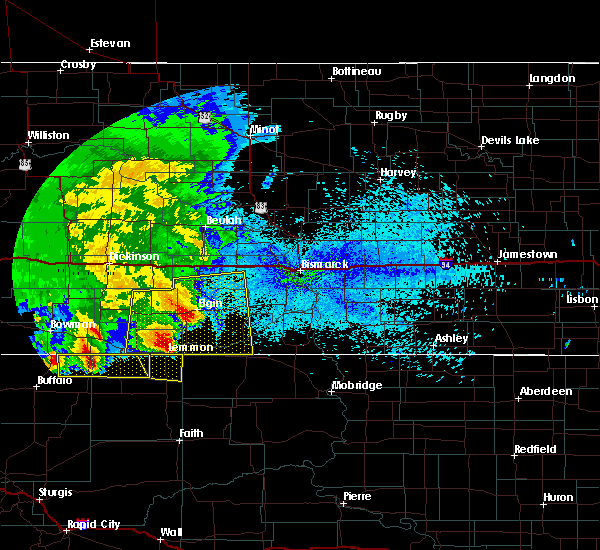 Radar Image for Severe Thunderstorms near Bucyrus, ND at 8/14/2020 1:21 AM MDT
