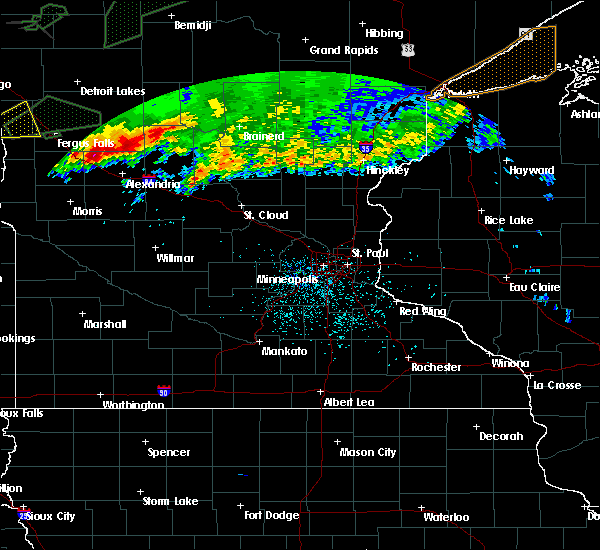 Radar Image for Severe Thunderstorms near Hewitt, MN at 8/14/2020 4:27 AM CDT