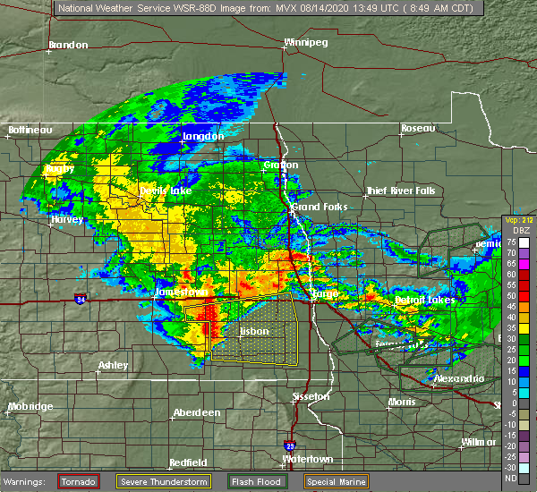 Radar Image for Severe Thunderstorms near Kindred, ND at 8/14/2020 8:59 AM CDT
