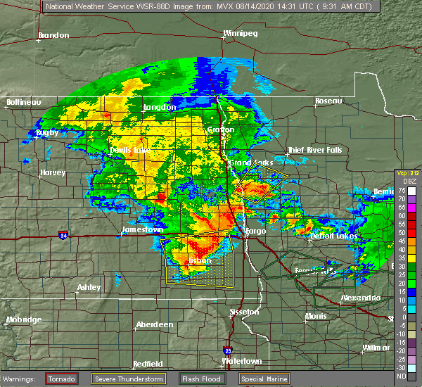Radar Image for Severe Thunderstorms near Kindred, ND at 8/14/2020 9:34 AM CDT