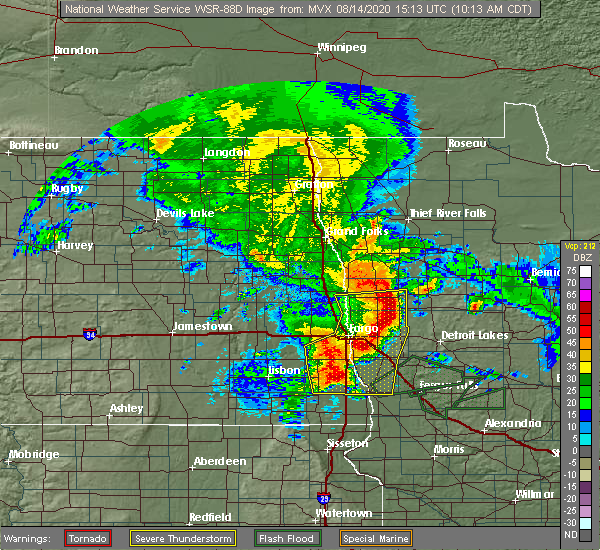 Radar Image for Severe Thunderstorms near Colfax, ND at 8/14/2020 10:22 AM CDT